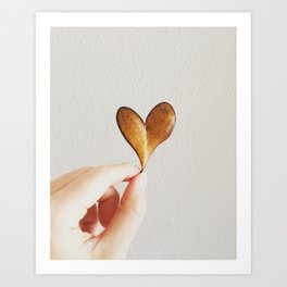 Perfect heart by nature leaf Art Print