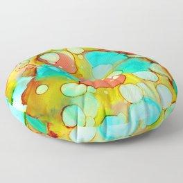 Autumn Ink Abstract Fluid Art Floor Pillow