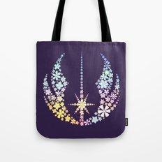 Multicolored Floral Jedi Symbol on Purple Tote Bag