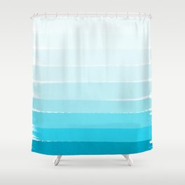 Isla - Ombre Brushstroke - Blue Turquoise, Bright, Summer, Tropical, Beach Ocean Shower Curtain