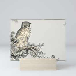 Japanese Scops Owl and Fir  from Pictorial Monograph of Birds (1885) by Numata Kashu (1838-1901) Mini Art Print