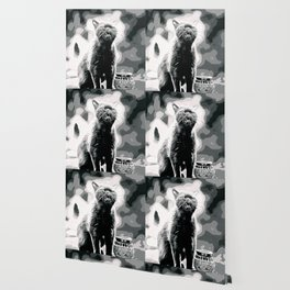 british shorthair cat ready to attack vector art black white Wallpaper