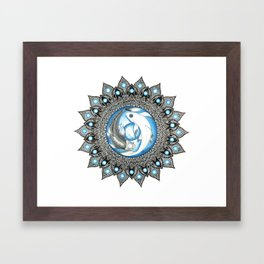 Yin and Yang Butterfly Koi Fish Mandala Framed Art Print