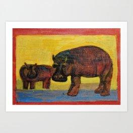Hippopotamuses Art Print
