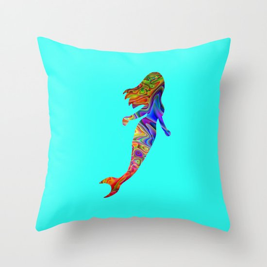 Psychedelic Mermaid Throw Pillow