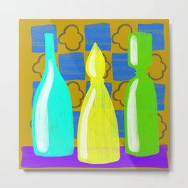 Moroccan Bottles with mustard wall Metal Print
