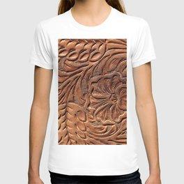 Vintage Worn Tooled Leather T-shirt