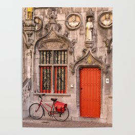 Bicycling in Bruges Poster