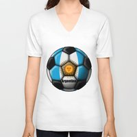 argentina V-neck T-shirts featuring Argentina Ball by kuuma