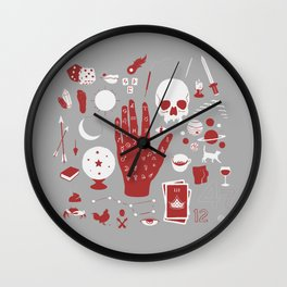 Methods of Divination - Gray & Red Wall Clock