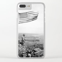 American Flag Flying Over Mount Suribachi - WWII Clear iPhone Case