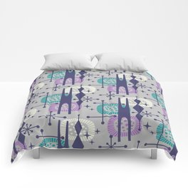 Retro Atomic Mid Century Pattern Grey Teal Blue and Lavender Comforters
