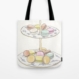 French Macarons Take a Stand, French Paris Pastry illustration Tote Bag