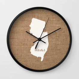 New Jersey is Home - White on Burlap Wall Clock