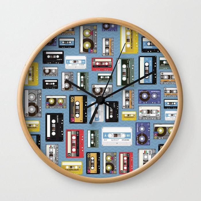 Retro cassette tape pattern 2 Wall Clock