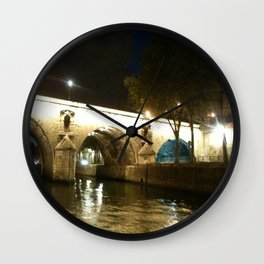 Paris - Bridge under lights Wall Clock