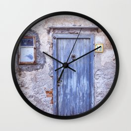 Old Blue Italian Door Wall Clock