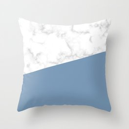 marble and ocean blue Throw Pillow
