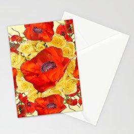 ORANGE POPPY FLOWERS GARDEN YELLOW ROSES ART Stationery Cards