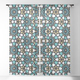 Persian Mosaic – Turquoise & Gold Palette Sheer Curtain