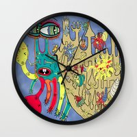 downton abbey Wall Clocks featuring Downton Crabbey by Amy Gale