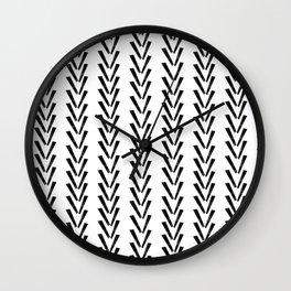Linocut abstract minimal chevron pattern basic black and white decor Wall Clock