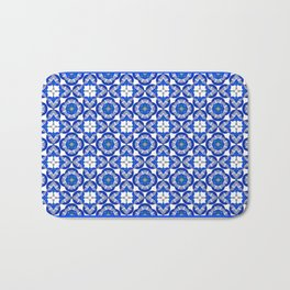 Abstract Half Moons - Blue Bath Mat
