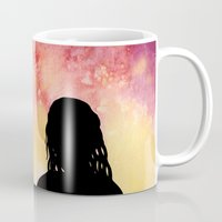 mother of dragons Mugs featuring Mother of Dragons Silhouette over Red + Yellow by Jessica Barst