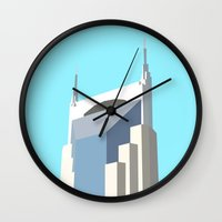 nashville Wall Clocks featuring NASHVILLE by Lauren Jane Peterson