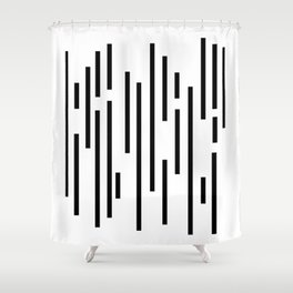 Minimal Lines - Black Shower Curtain