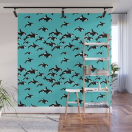 Orca Whale Pattern on Blue Wall Mural