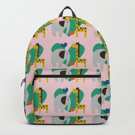 Elephant and Giraffe Pink Backpack