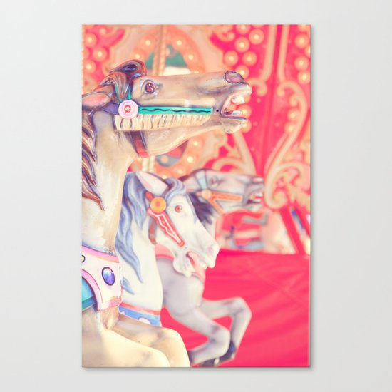 Pink Carousel Horse Canvas Print
