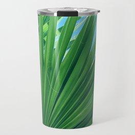 Fan Palm Leaf Against Azur Blue Sky Travel Mug