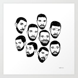 the many faces of Drake Art Print