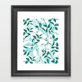 fresh green leaf pattern Framed Art Print