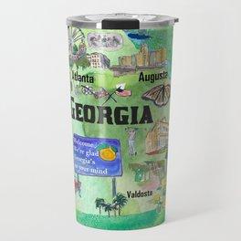 USA Georgia State Travel Poster Map with Tourist Highlights Travel Mug