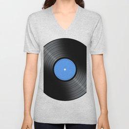 Music Record Blue Unisex V-Neck