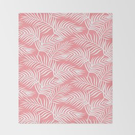 Palm Leaves_Pink Throw Blanket