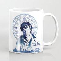 sherlock Mugs featuring Sherlock by Jackie Sullivan