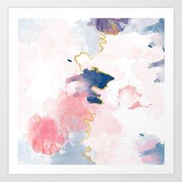 Kintsugi Pastel Marble #kintsugi #gold #japan #marble #pink #blue #home #decor #kirovair Art Print