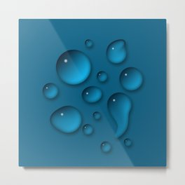 Water drops on a blue background Metal Print