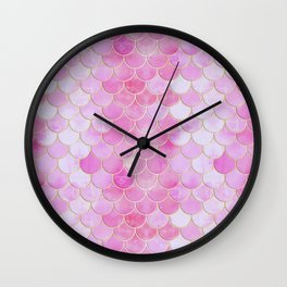 Pink Pearlescent Mermaid Scales Pattern Wall Clock