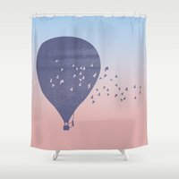 hot air balloon Shower Curtains featuring Hot Air Balloon (P) by HeyAle!