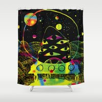 spaceship Shower Curtains featuring Spaceship by AliceDudurand