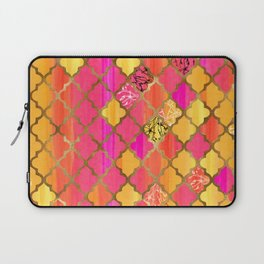 Moroccan Tile Pattern In Pink, Red, Orange, And Gold Laptop Sleeve
