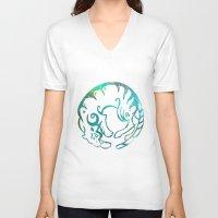 zodiac V-neck T-shirts featuring Tiger zodiac by Julie Luke