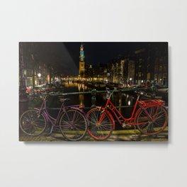 Amsterdam Bikes and Canal at Night Metal Print
