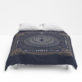 Eagle Head Front Gold White on Black Background Comforters
