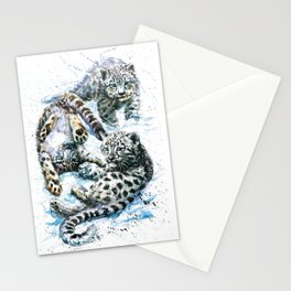 Little snow leopards Stationery Cards